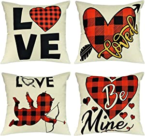 Wareon Valentines Day Decoration Pillow Covers 18x18 Inch Set of 4 Romantic Farmhouse Buffalo Plaid Pillow Covers for Bedroom Living Room Indoor Outdoor Home Decor Valentines Decor