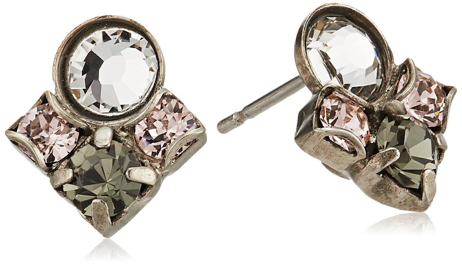 Sorrelli Womens Snow Bunny Petite Crystal Cluster Post Stud Earrings, Clear/Pink, 0.5 by Sorrelli