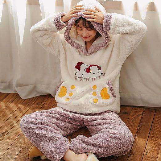 Bayrick Pijama Mujer Algodon Invierno,Pijama de Franela cálida ...