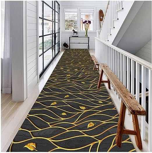 Jcy-La alfombra Pasillo,Moqueta Decoración del Hogar Antideslizante Resistente Desgaste para Escaleras Cocina Dormitorio Piso,Lavable Máquina (Color : Gold Leaves, Size : 90x300cm): Amazon.es: Hogar