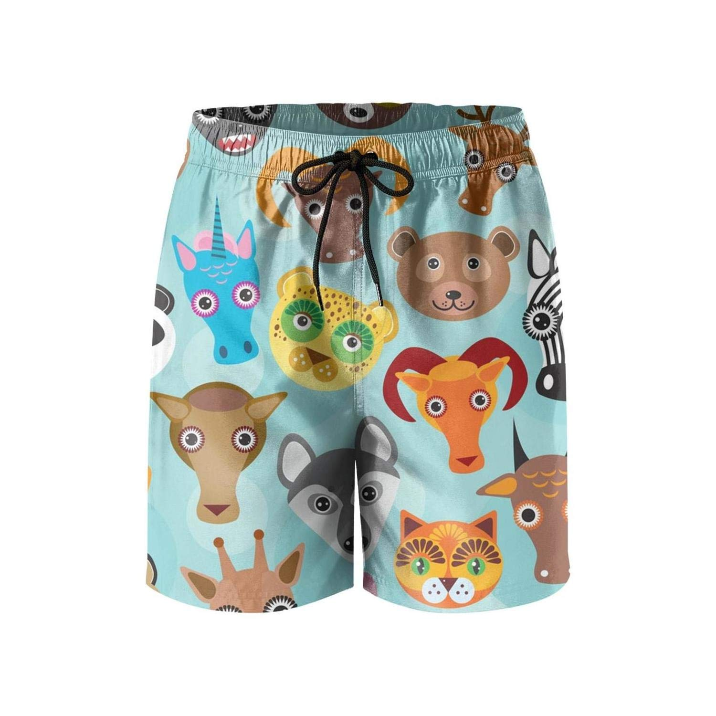 LHSKH Cartoon Animals Pattern Mens Swim Trunks Elastic Waist Boardshorts for Men Summer Mens Swim Shorts