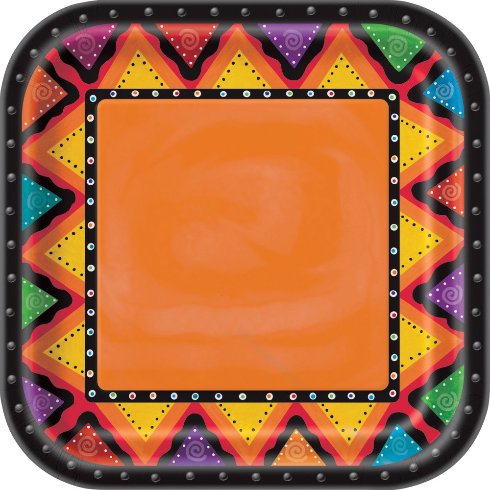 Square Fiesta Paper Dinner Plates, 8ct