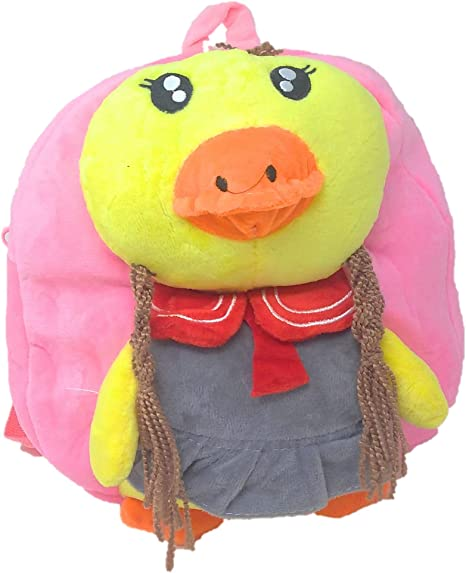 Oytra Pink Fur Soft Bag for Kids 1-3 Years - Chick Plush Bag