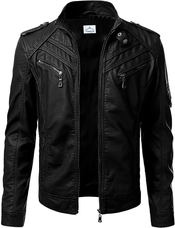 VearFit Premadure Black Faux Leather Biker Jacket for Men Regular Big /& Tall
