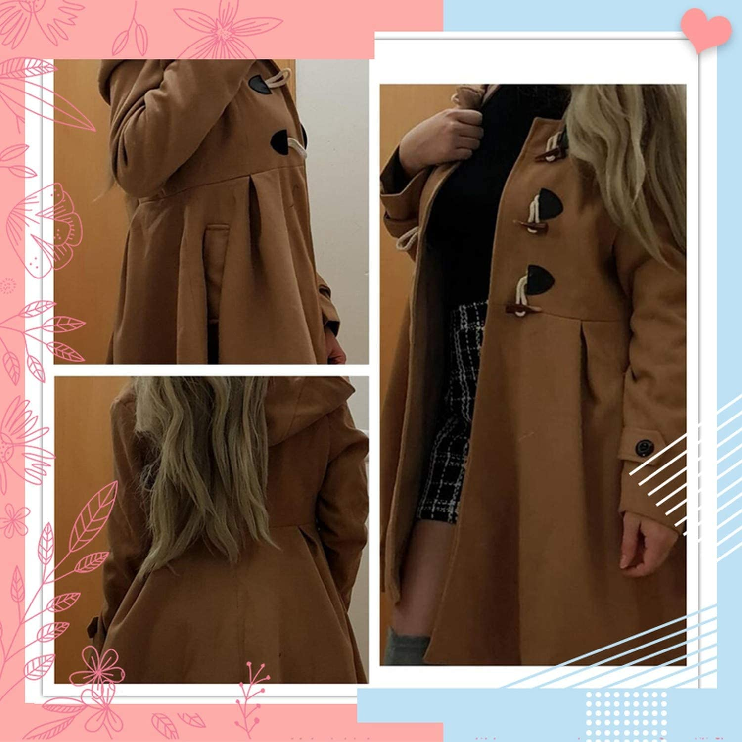 colorful-space Camel Flared Hem Hooded Duffle Coat Women 2019 Autumn Long Sleeve Outerwear