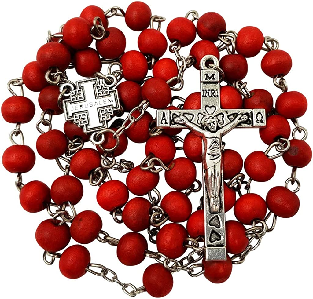 BLESSED CATHOLIC ROSARY NECKLACE Red Rose Scented Wood Beads Jerusalem Cross in