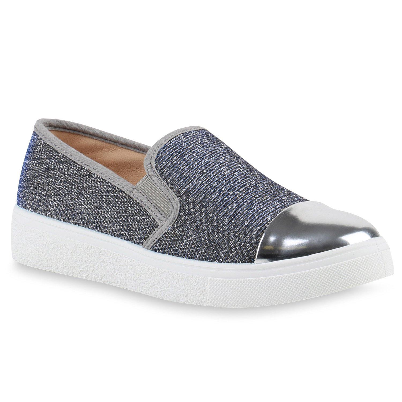 Stiefelparadies Unisex Damen Herren Sneaker Slip Ons übergrößen Flandell Grau Metallic Lack