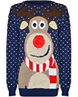 Made by Blush Avenue® Ladies Mens Long Christmas Reindeer Retro Jumper Sweater Knit Snow Cute Xmas S - XL