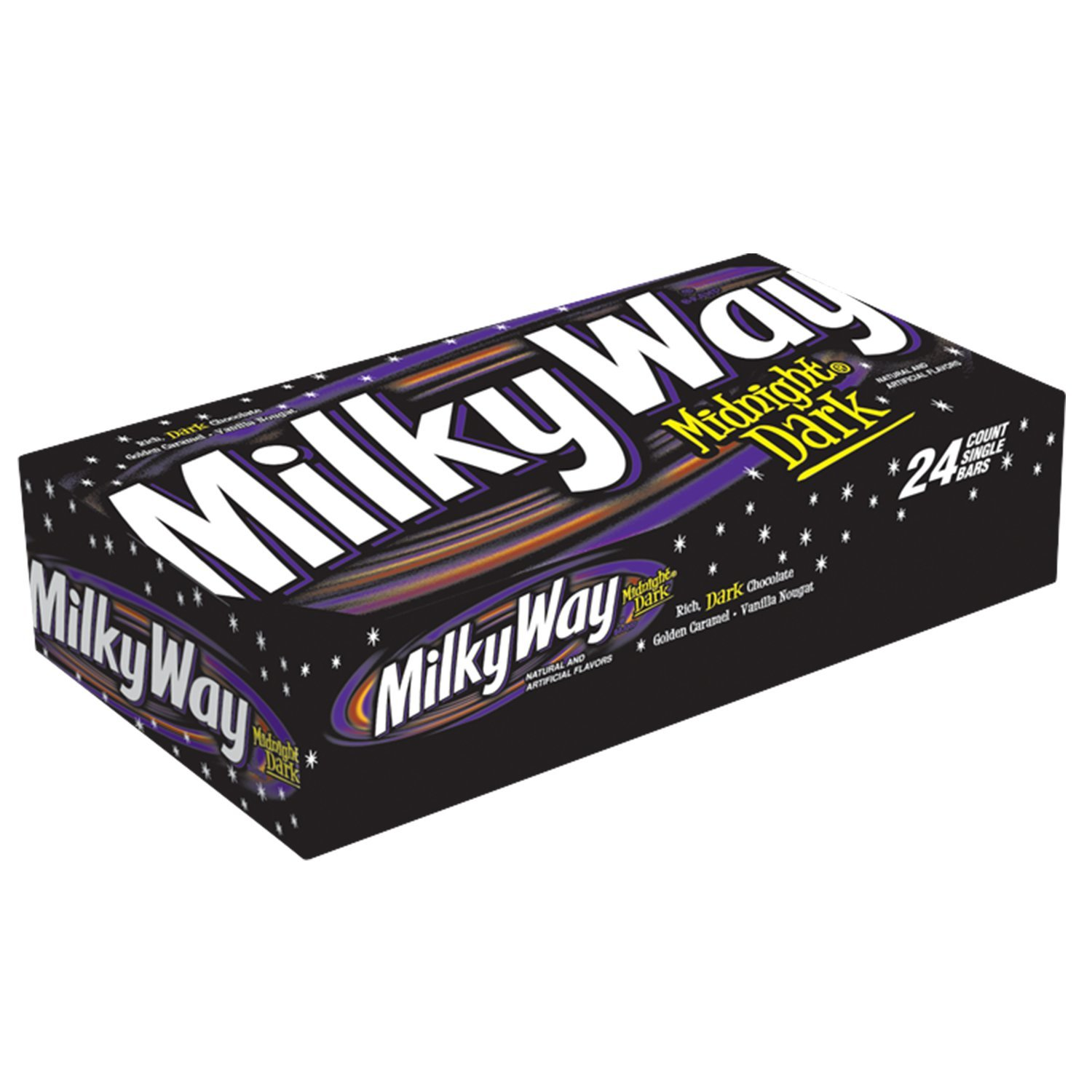 MILKY WAY-- Single Size Candy Bars--Midnight Dark Chocolate Caramel Nougat Candy Bars--Individually Sized--24-1.76oz. Individual Bars
