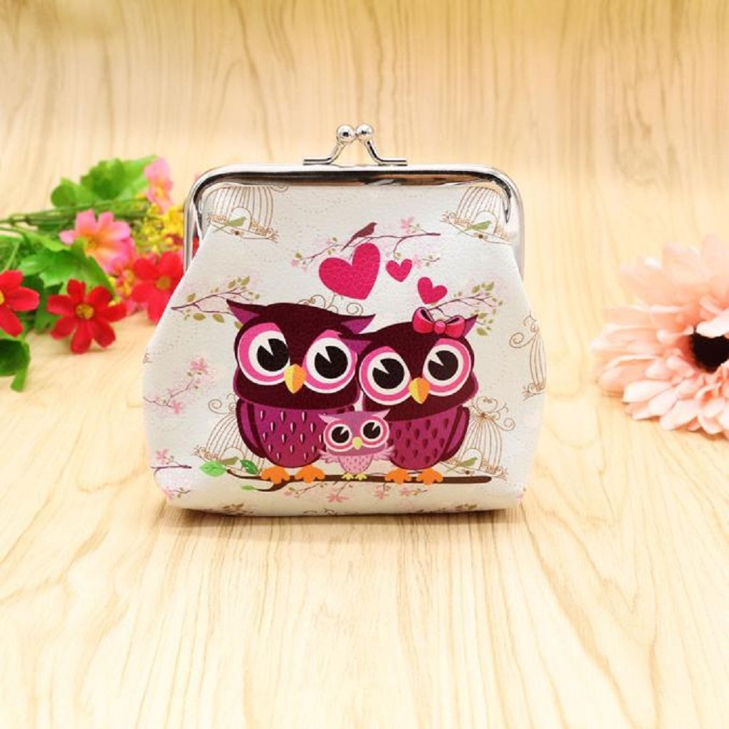 Coin Purse, Mikey Store Women Lady Retro Vintage Owl Small Wallet Hasp Purse Clutch Bag (white) by Mikey Store Pet (Image #2)