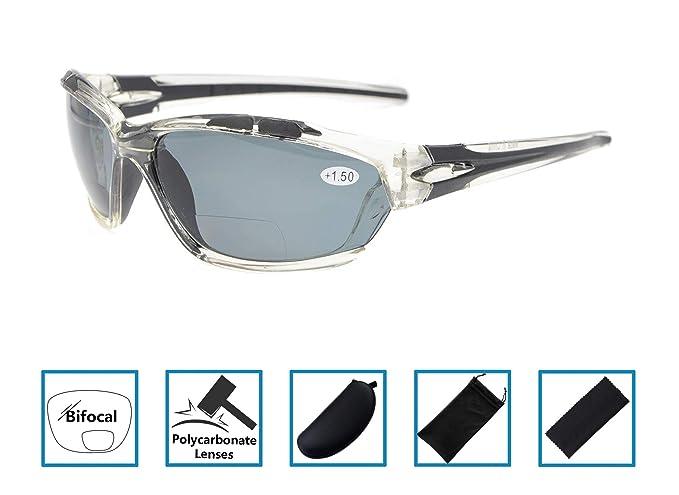 736191efe0 2. gafas de sol bifocales de lectura Wraparound Designer Style Sports Sun  Readers UV800 vidrios polarizados a prueba de roturas Claro Marco Gris  Lente +3.0