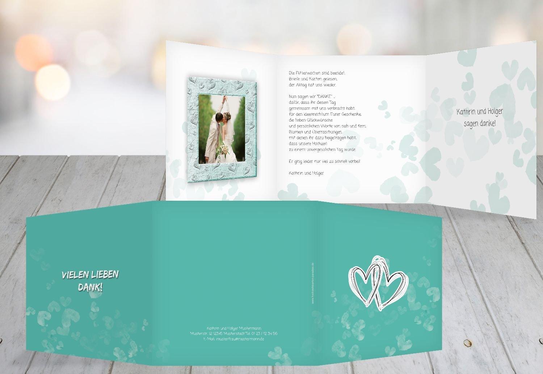 Kartenparadies Danksagung für Hochzeitsgeschenke Hochzeit Dankeskarte Liebesglück, hochwertige Danksagungskarte Hochzeitsglückwünsche inklusive Umschläge   20 Karten - (Format  145x145 mm) Farbe  Türkisblaukräftig B01N4Q