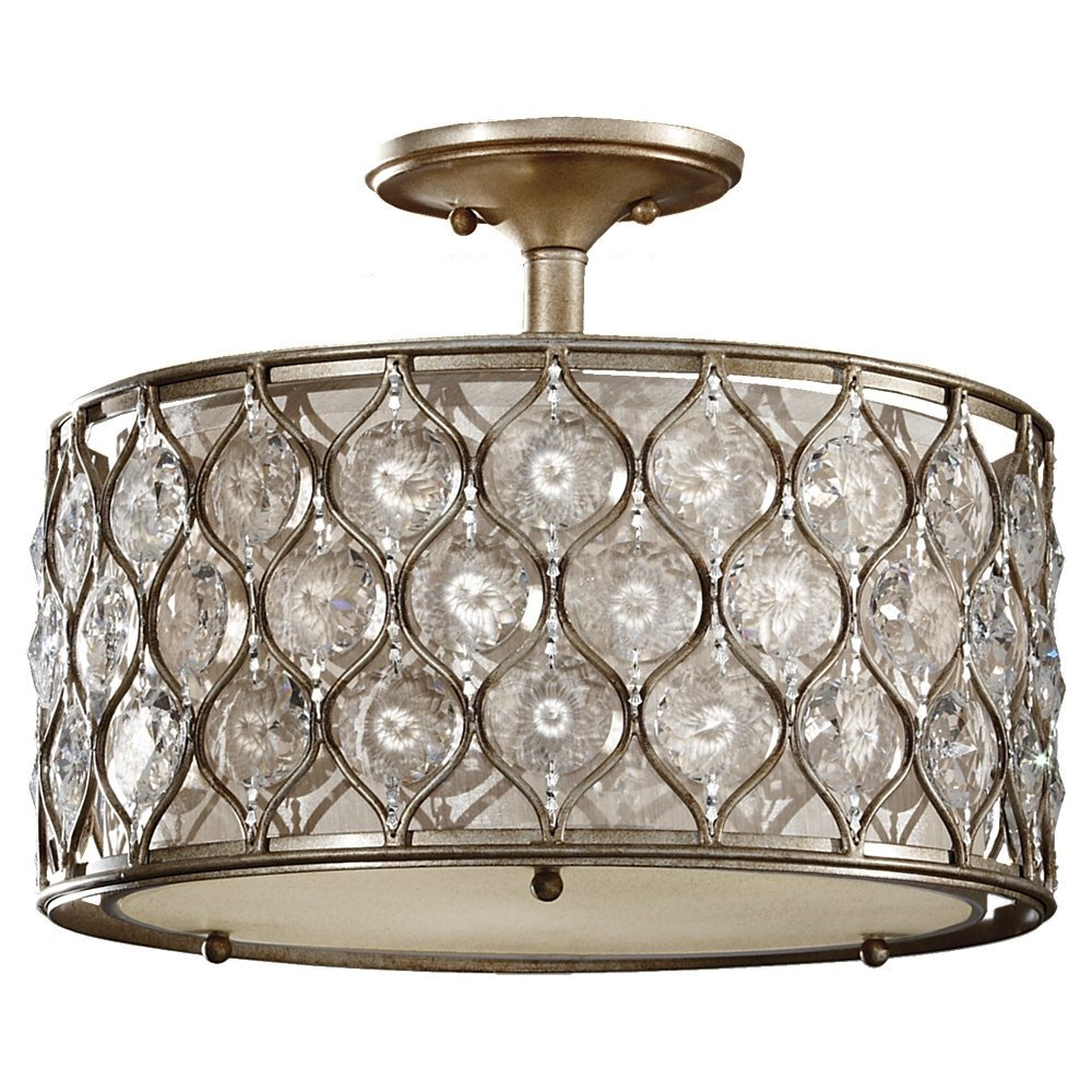 Feiss Sf289bus Lucia Glass Semi Flush Ceiling Lights 3 Light 180watts Silver 16 W By 13 H Close To Fixtures Com