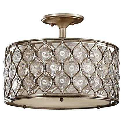 Murray feiss sf289bus lucia 3 light indoor semi flush mount burnished silver