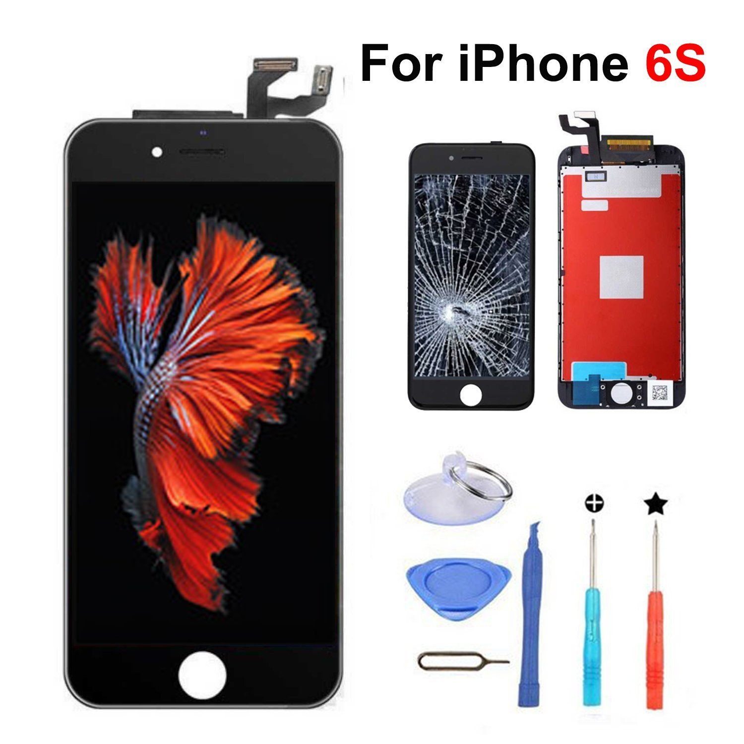 QTlier For iPhone 6S Retina LCD Touch Display Replacement Screen With Digitizer Assembly Free Tools(Black)