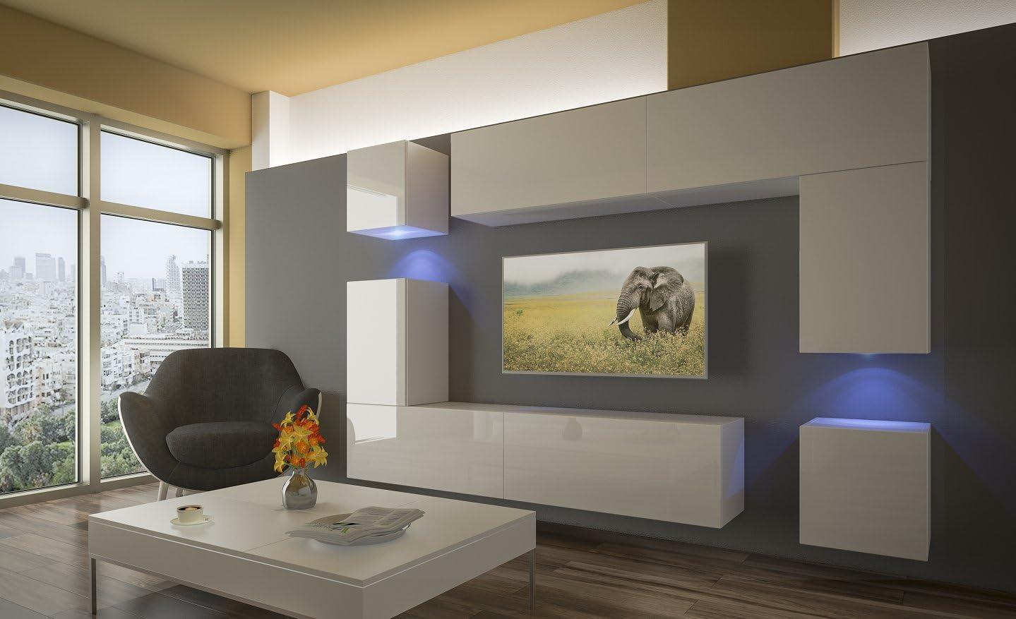 Home Direct PRAG N15, Modernes Wohnzimmer, Wohnwände, Wohnschränke,  Schrankwand (Weiß Matt Base/Weiß HG Front (HG15), LED RGB 15 Farben)