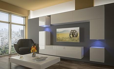 Home Direct PRAG N5, Modernes Wohnzimmer, Wohnwände, Wohnschränke,  Schrankwand (Weiß Matt