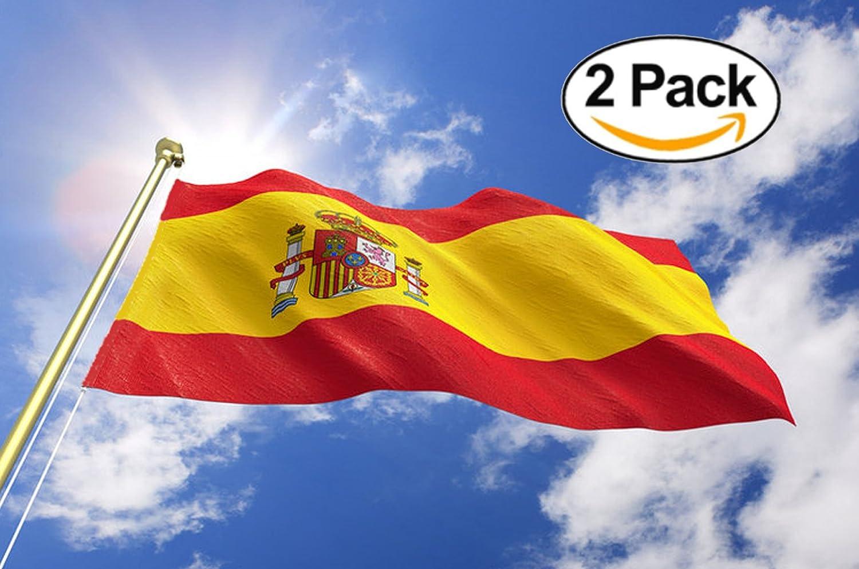 Yearol 2 Banderas de España grandes con escudo. 90 x 150 cm. Bandera Española 150 x 90 cm. Para Interior y exterior. Spain flag.: Amazon.es: Jardín