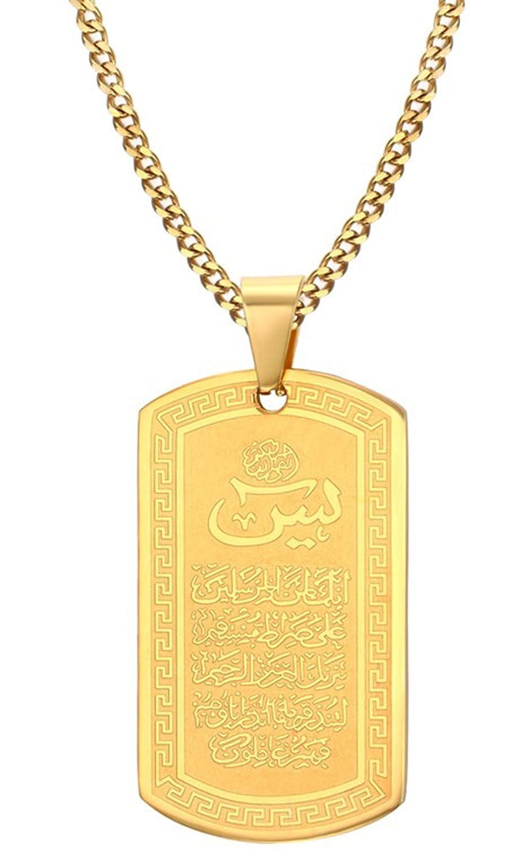 ALEXTINA Unisex Stainless Steel Gold Plated Muslim Shahada Islam