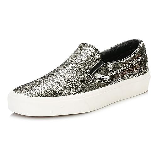 Vans Mujer Dorado/Blanc De Blanc Classic Slip On Cuero Zapatillas: Amazon.es: Zapatos y complementos