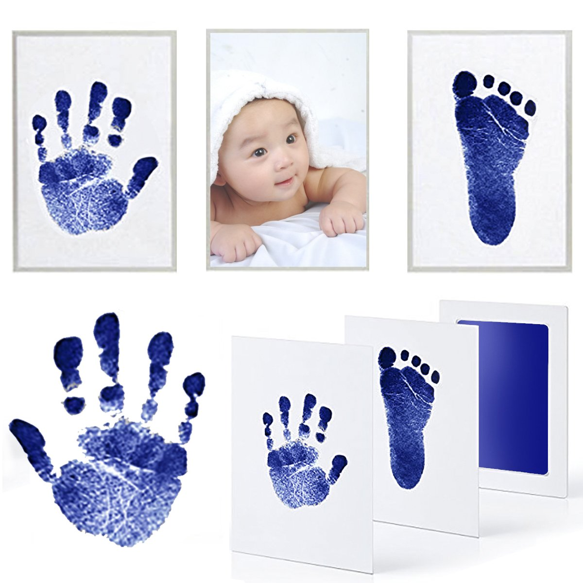 PartyYeah 3 Pcs Baby Ink Pad for Baby Footprints Hand Prints and Fingerprints Kit with 3 Extra Large Ink Pads and 6 Imprint Cards Perfect Keep Baby Memory Baby Shower Gift (Type-1, Blue)
