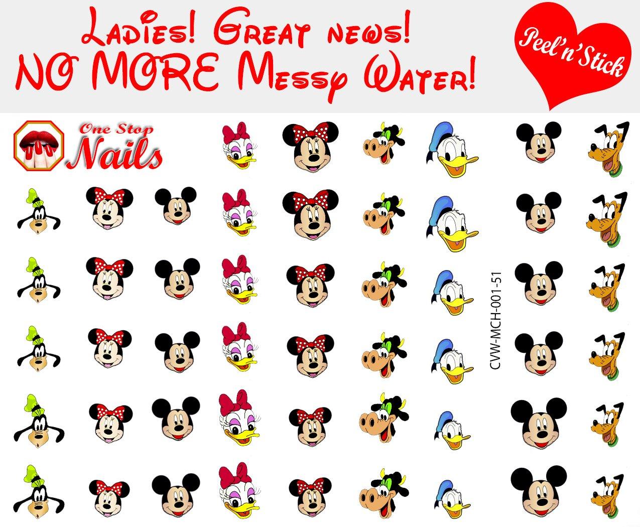 Amazon.com: Disney Minnie Mouse Bow clear vinyl PEEL and STICK nail ...