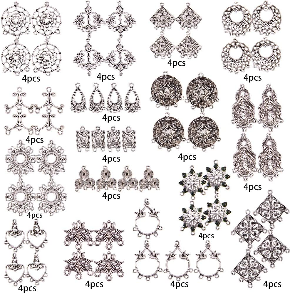 SUNNYCLUE 64pcs 16 Style Antique Silver Tibetan Earring Chandelier Connector Charms Findings Loops Jewelry Making Kit for Earring Drop and Charm Pendant in Storage Box