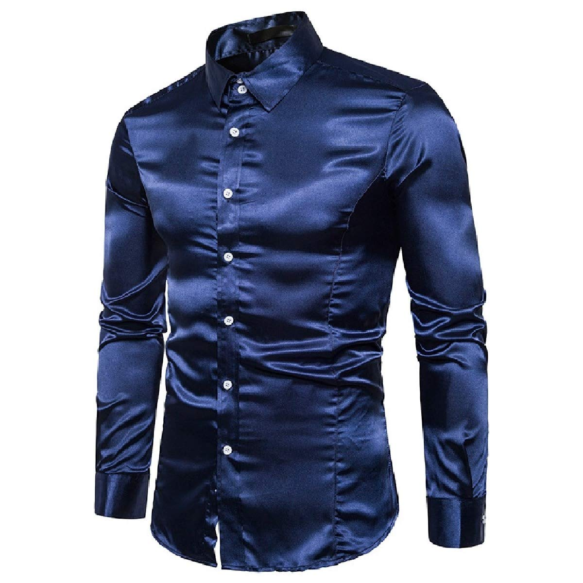 YUSKYMen Long Sleeve Pure Colour Regular-Fit Stage Clothing Work Shirt