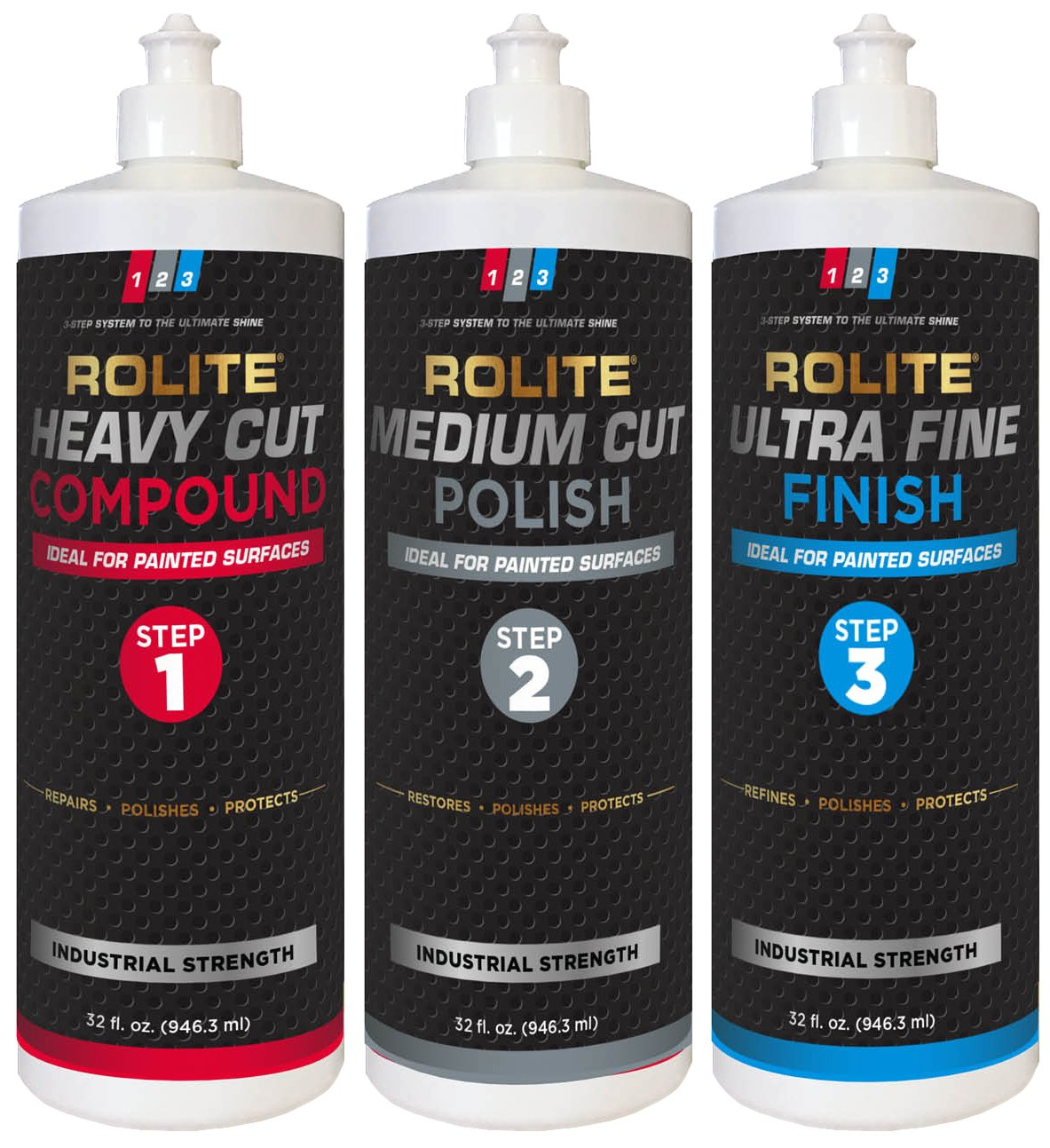 Rolite's 3 Step System to the Ultimate Shine (32 fl. oz.) with Heavy Cut Compound, Medium Cut Polish and Ultra Fine Finish Combo Pack