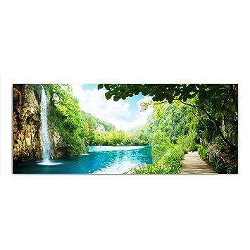 Amazon De Dekoglas Glasbild Wasserfall See Baume Echtglas Bild