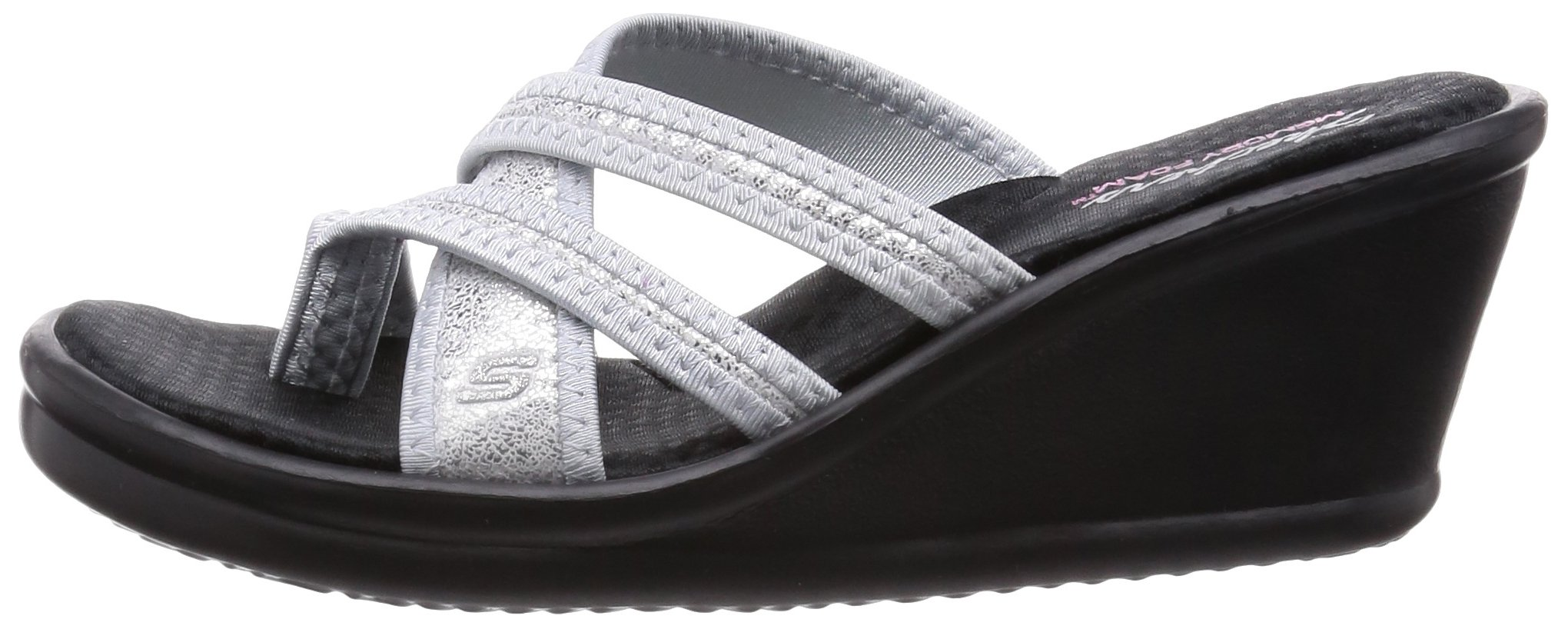 Skechers Cali Women's Rumblers-Young at Heart Wedge Sandal,Silver Sparkle,7 M US by Skechers (Image #5)