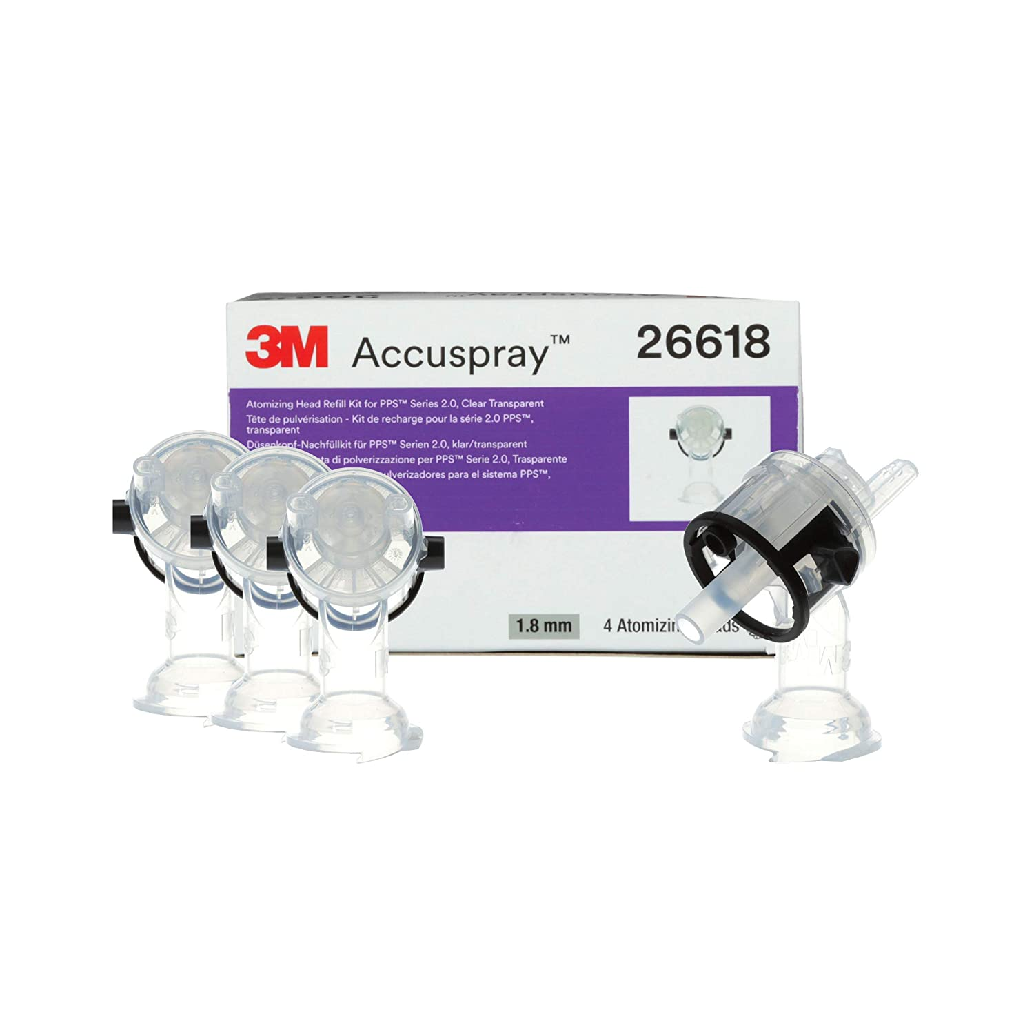 3M Accuspray Atomizing Head Refill Pack PPS Series 2.0, 26618, Clear, 1.8 mm, 4 nozzles per Pack