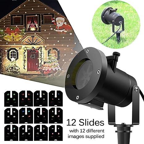 lydaz Proyector LED de Navidad jardín 12 diseños, multicolor, para ...