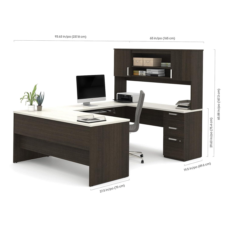Amazon Bestar Ridgeley U shaped Desk in Dark Chocolate and