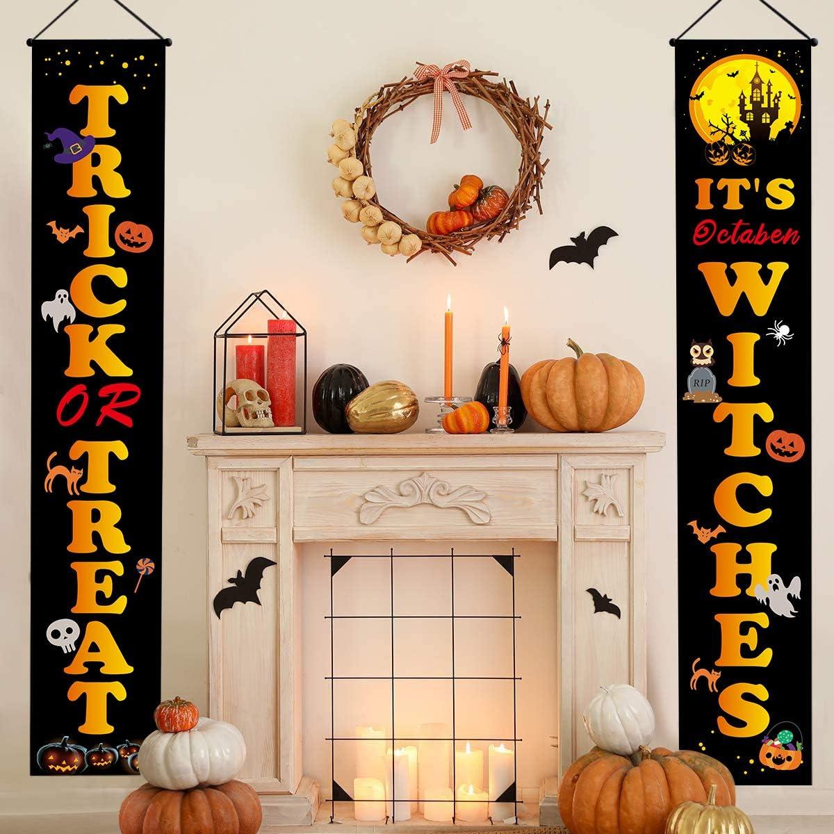 Abozoy Halloween Door Decorations Outdoor,Trick or Treat Halloween Banner Signs,Porch Decorations Welcome Signs for Front Door and Indoor Home Decor Supplies