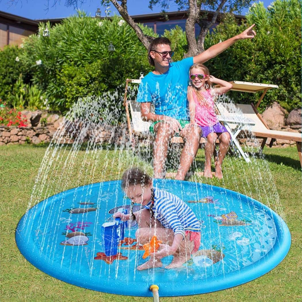 rungoi 170cm Kids Sprinkle and Splash Play Mat Pad Toy Inflatable Outdoor Sprinkler Pad Water Pad Toys for Children Infants Toddlers Boys Girls by rungoi (Image #4)