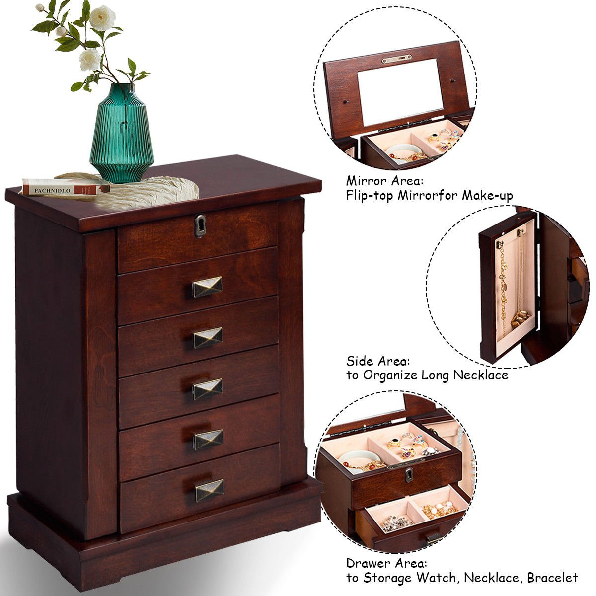 Adumly Armoire Jewelry Cabinet Box Storage Chest Stand Organizer Wood by Adumly (Image #6)