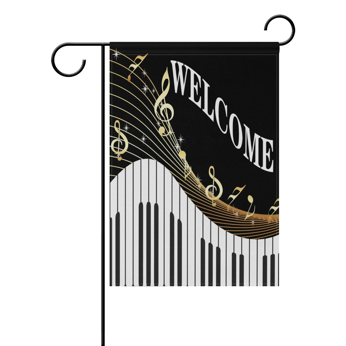 WXLIFE Welcome Music Piano Musical Notes Garden Flag 12 X 18 Inches, Double Sided Outdoor Yard Yall Garden Flag for Wedding Party House Home Decor