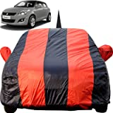 Autofact Car Body Cover for Maruti Swift (2005 to 2017) with Mirror and Antenna Pocket (Light Weight, Triple Stitched, Heavy Buckle, Bottom Fully Elastic, Red Stripes with Navy Blue Color)