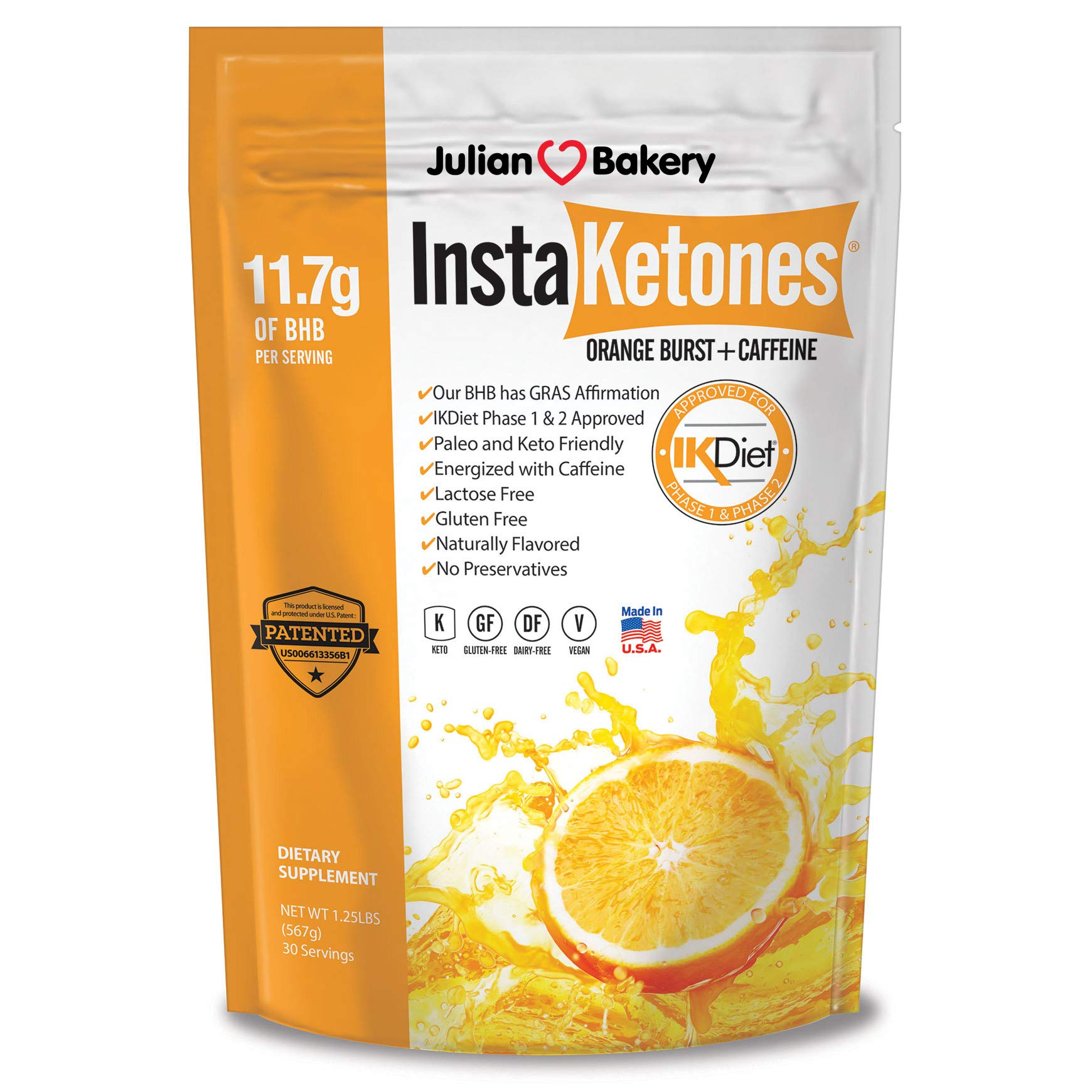 Julian Bakery's InstaKetones® 11.7g GoBHB® Per Scoop +Organic Caffeine (Orange Burst) (1 Pack) (+Caffeine) (30 Servings) Exogenous Ketones by Julian Bakery