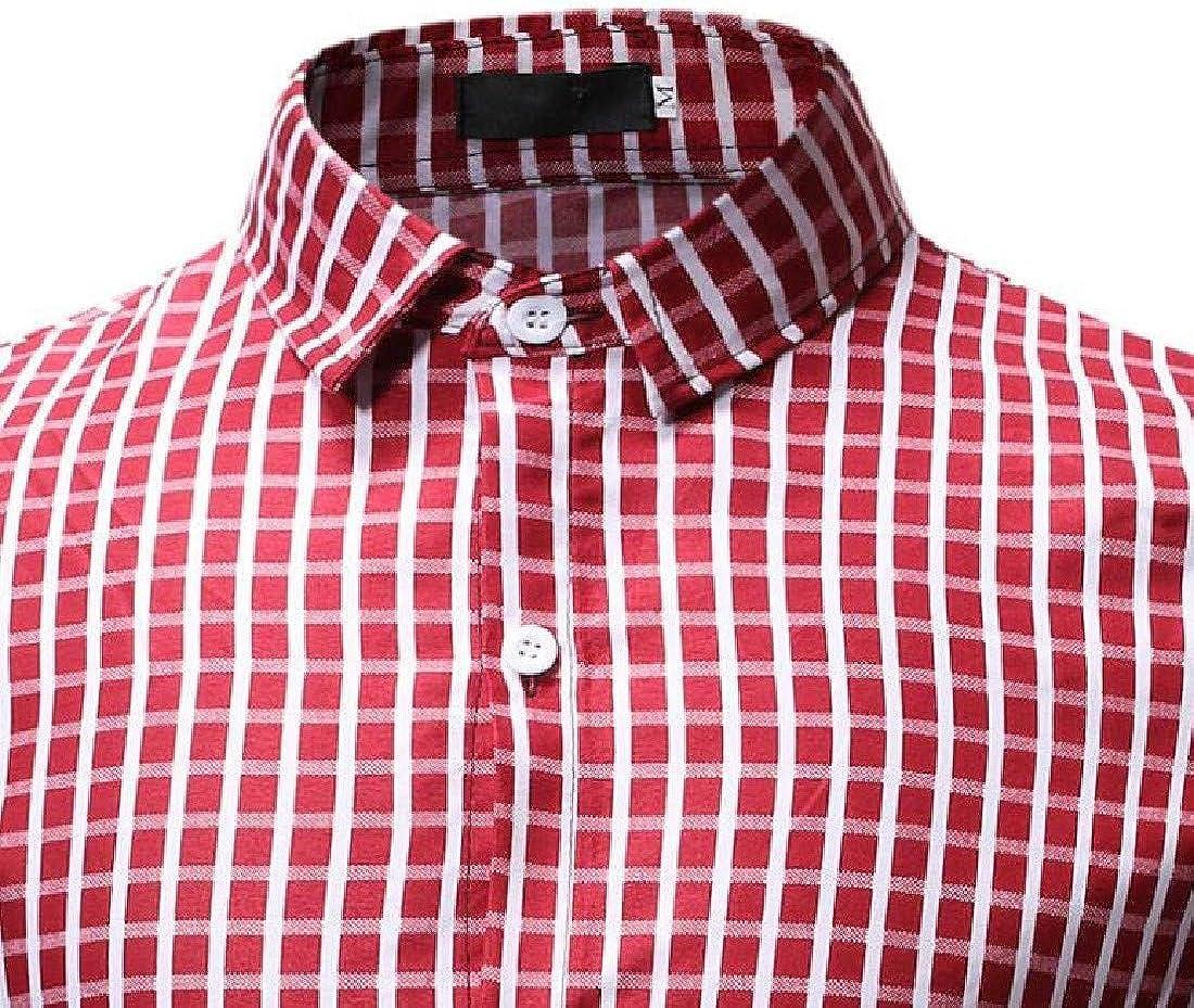 Zimaes-Men Long-Sleeve Button Down Plaid Casual Turn-Down Collar Work Shirt