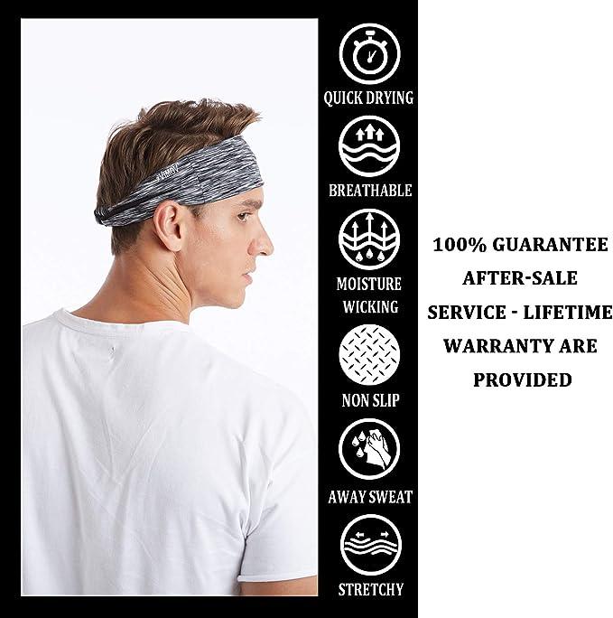 KIPIDA Sport Stirnband 4 Pack Schwei/ßband Anti Rutsch f/ür Herren und Damen Stirnband Elastische f/ür Yoga Sportlich Fitness Training Laufen Fahrrad Tennis Gym Feuchtigkeit Wicking Headwear Haarband