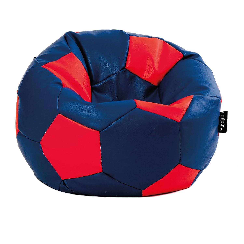 MiPuf - Puff Futbol Original - 120cm diámetro - Tejido Polipiel Alta Resistencia - Doble Cremallera - Relleno Incluido - Azul Marino y Rojo - 4 años ...