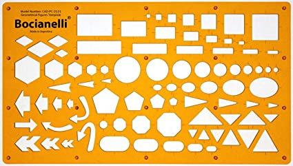 Plantilla de Dibujo Técnico - Símbolos de Círculos Cuadros Hexágonos Triángulos Rectángulos Flechas Elipses Pentágonos – para Arquitecto Ilustrador Ingeniero Estudiante Diseñador Dibujante: Amazon.es: Juguetes y juegos