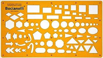 Plantilla de Dibujo Técnico - Símbolos de Círculos Cuadros Hexágonos Triángulos Rectángulos Flechas Elipses Pentágonos –