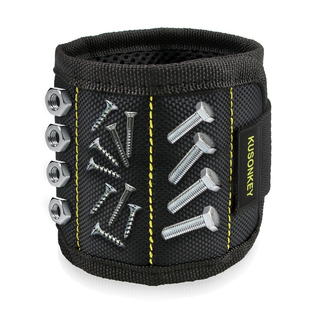 Magnetic Wristband, Toyoo Magnetic Wristband with 10 Strong Magnets for Holding Tools, Screws, Nails, Bolts, Drill Bits, Screwdriver (Black) by ToYoo (Image #2)