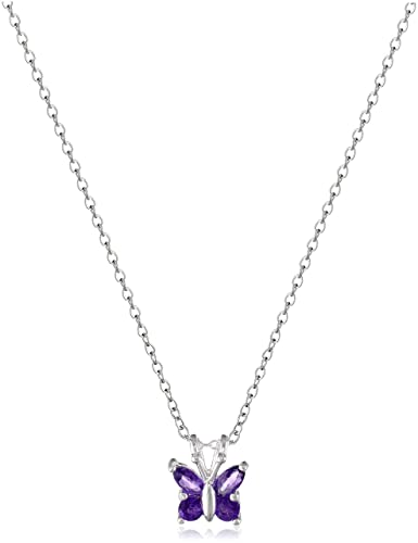 Amazon.com: Sterling Silver Amethyst Butterfly Pendant Necklace ...