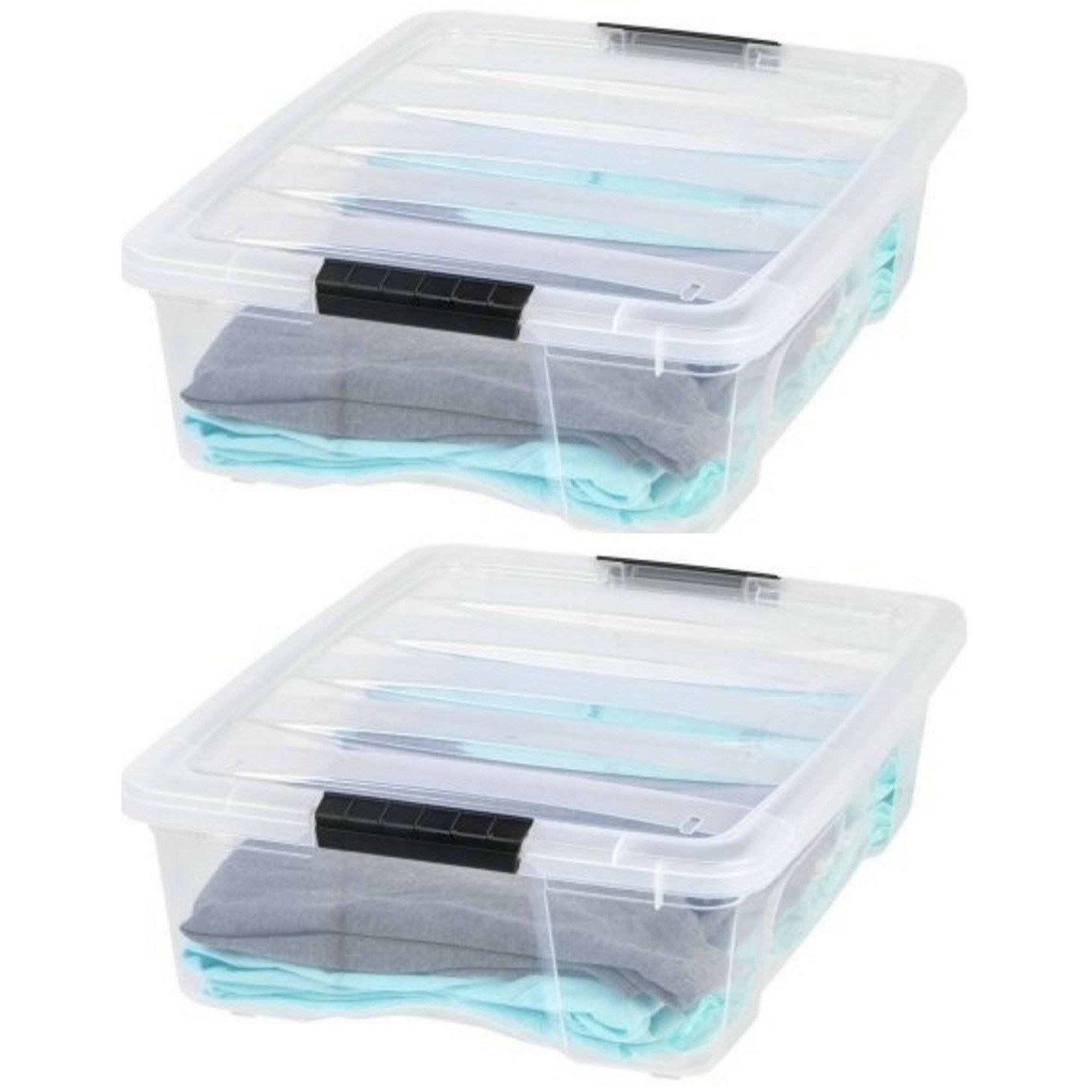 IRIS 26 Quart Stack & Pull Box, Clear (2 Pack)