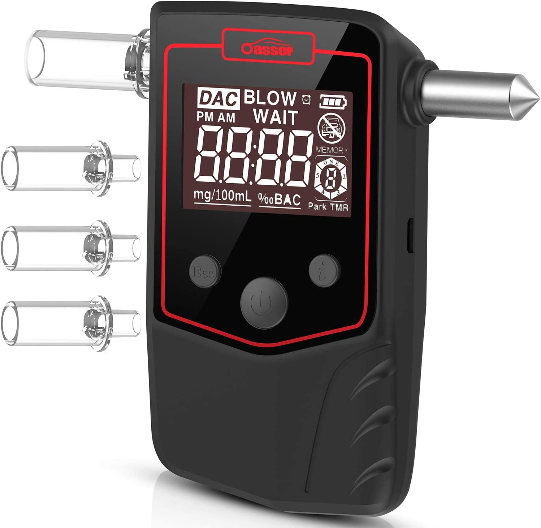 oasser Alcootest Electronique Ethylotest Num/érique Rechargeable avec Batterie au Lithium Rouge