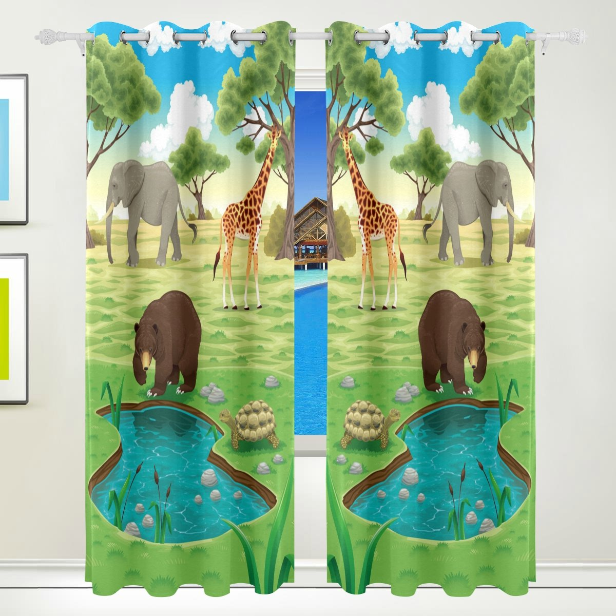 Vantaso Window Curtains 84 Inch Long Forest Animals Bear Elephant Giraffe for Kids Girls Boys Bedroom Living Room Light Shading Polyester 2 Pannels by Vantaso